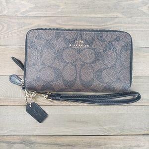 Coach Leather Double Zip Wristlet Wallet